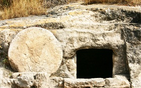 Example of the kind of stone used to seal the entrance to a tomb in Jesus' day