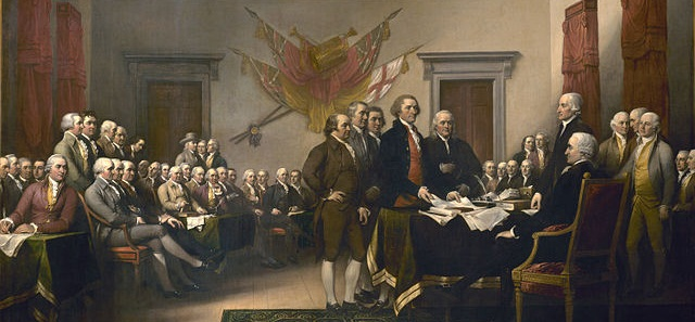*** 1918 painting depicting the drafting committee presenting their draft of the Declaration of Independence to the Continental Congress
