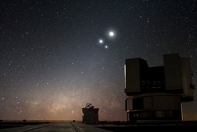 Conjunction of Venus, Jupiter and the Moon in 2009 ($$ ESO)